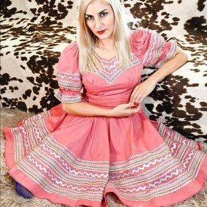 Vtg 70s Dolly Western Square Dance Metallic Dress